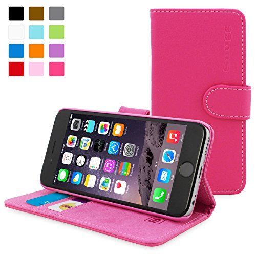 英国Snugg製 iPhone6用 PUレザー手帳型ケース - 生涯補償付き (ホットピンク)