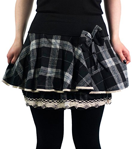 innocent-mini-rock-aya-bow-mini-skirt-black-white-check-schwarz-m