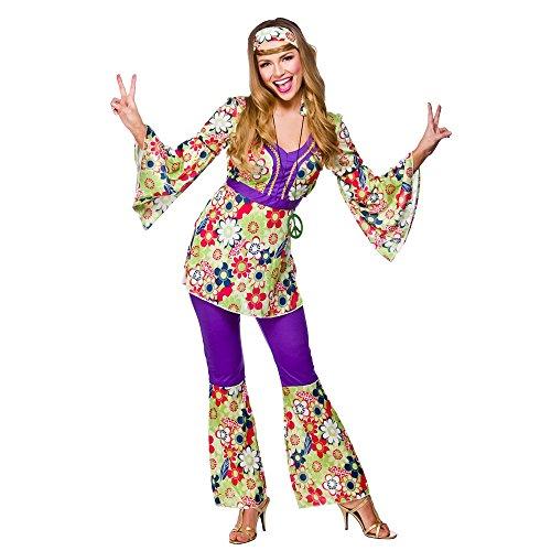 (XXL) Ladies Hippie Chick Costume for 60s Mods Rockers Hippy Fancy Dress Womens XXL
