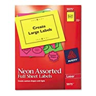 High-Visibility Laser Labels, 8-1/2 x 11, Assorted Neons, 15/Pack