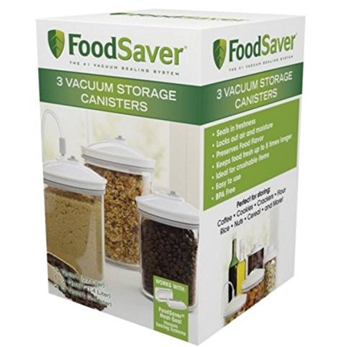 BEST PRICE FoodSaver 3/4, 1-1/2, and 2-1/2-Quart Round 3 Piece Canister Set, 3-Pack (Foodsaver Vac 1050 compare prices)