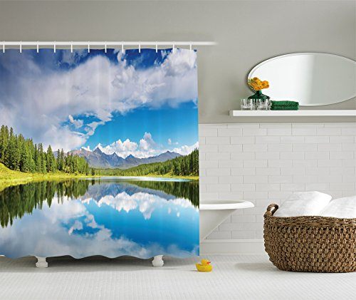Ambesonne Lakehouse Decor Collection, Lake and Reflection Scene at the Skirts of Altai Mountain Covered with Spring Forest Picture, Polyester Fabric Bathroom Shower Curtain, 84 Inches Extra Long,