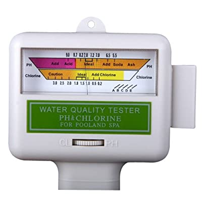 SODIAL(R) Water Quality PH/CL2 Chlorine Tester Level Meter for Swimming Pool Spa White