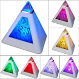 7 LED Pyramid Colour Changing Digital Alarm Clock