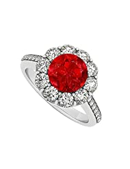 925 Sterling Silver July Birthstone Ruby And Cubic Zirconia Halo Engagement Ring