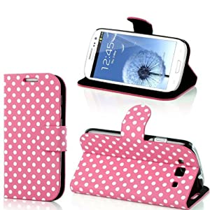 Hybrid Wallet Polka Dots Leather Flip Card Pouch Stand Case Cover For Samsung Galaxy S3 i9300 S III Cleaning Cloth by VAMVAZ