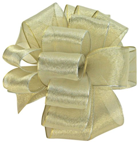 Offray Wired Edge Magic Wand Metallic Sheer Craft Ribbon, 1-1/2-Inch Wide by 50-Yard Spool, Champagne