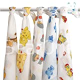 Set of 5 with Animals & Cars printed Nappies Newborn Baby Muslin Squares, Cloths, Bibs, Wipes 100% Pure Cotton Reusable Nappy**Other choices available. See inside.**