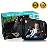 Baby Car Mirror - Hugs Babycare Extra Large Convex Back Seat Mirror for Cars - 360° Adjustable Rotation - Clear View of Infant in Rear Facing Car Seats Without Turning Around - Shatterproof - Crystal-Clear, Anti-Glare Reflection - Non-Slip Technology - Better than Self-Assembly Baby Mirrors - No-Quibble Guarantee