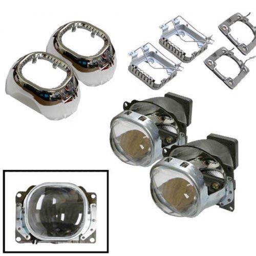 "Ijdmtoy (2) 2.5"" Q5 Ocular Square Shape Bi-Xenon Hid Retrofit Projector Lens For Headlights Diy Use (Compatible With D1S D2S D3S D4S Oem Hid Bulbs)"