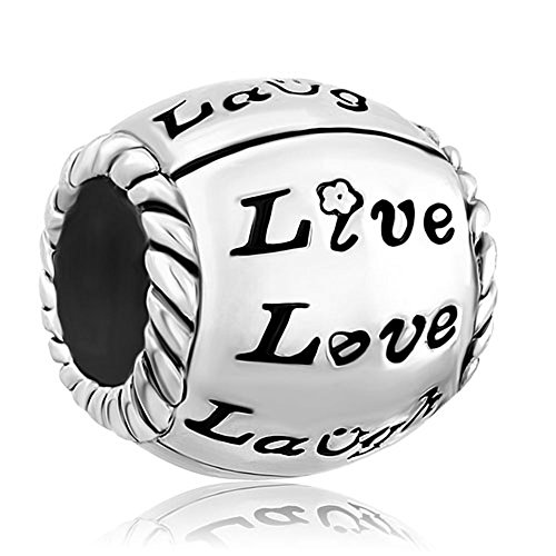 Christmas Gifts Sale Cheap Flower Live Love Laugh Heart Silver Plated Charm Beads Fit Pandora Jewelry Bracelet (Pandora Amazon compare prices)