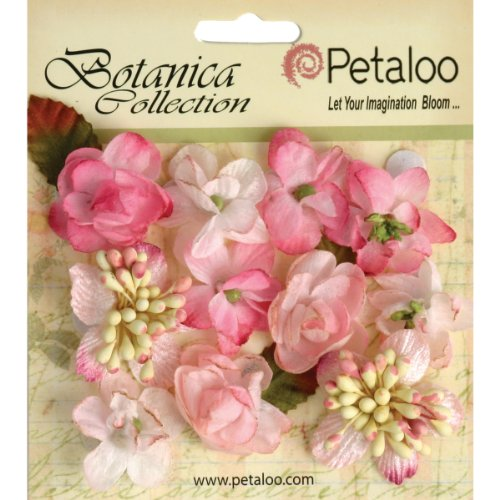 Petaloo Botanica Minis Decorative Flower, 1-Inch, Soft Pink, 11-Pack - 1