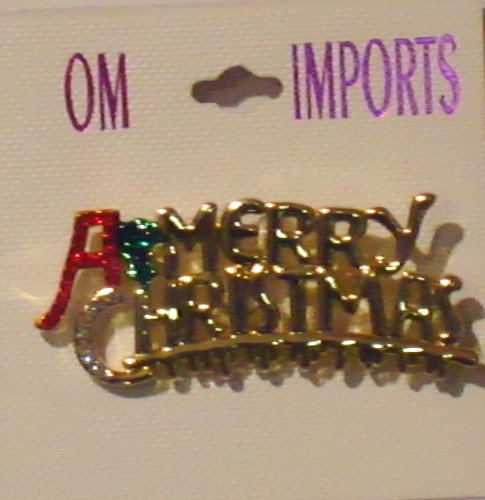 Sparkling Crystals Rhinestones Jades Genuine Gold Plated Gita Merry Christmas Brooch Pin