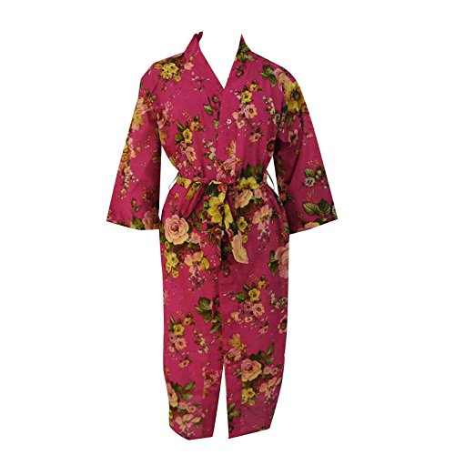 Pink Robes Kimono Cotton Floral Crossover Robe Bridesmaid Gift Spa Wrap Size Xxl front-1032929