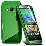 ONX3® HTC One Mini 2 Grip S Line Wave Gel Series Case Skin Cover - LCD Screen Protector Film And Polishing Cloth - Various Colours (Green)