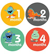 Lucy Darling Shop Monthly Baby Sticker - Baby Boy - Little Monsters - Months 1-12