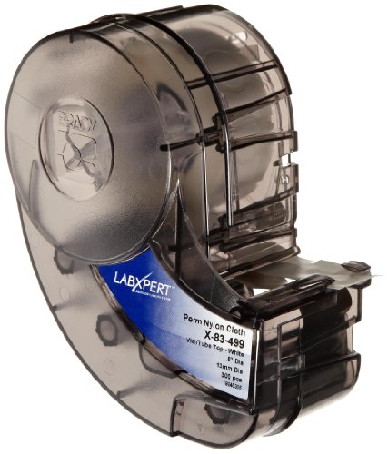 "Brady X-83-499 Idxpert And Labxpert 0.5"" Height, 0.5"" Width, B-499 Nylon Cloth, Black On White Color Label (300 Per Cartridge)"
