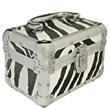 ZEBRA PRINT METAL COSMETIC BEAUTY MAKE UP NAIL SALON BOX CANTILEVER VANITY CASE BOXby TOOLTIME