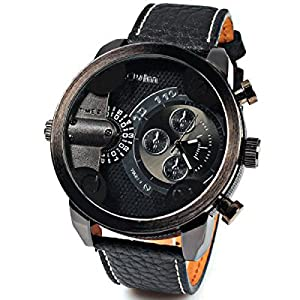 Oulm Men Watch With Double Movt Numbers and Strips Hours Marks Round Dial Leather Band