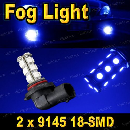 Pair Ultra Blue 9145 / H10 18-Smd 5050 Led Headlight Bulbs For Driving Fog Light / Day Time Running Light Drl ( Cross Reference : H10 / 9040 / 9045 / 9055 / 9140 )