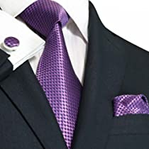 Landisun 43N Purples Small grid Mens Silk Neck Tie Set