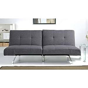 Aspen grey fabric foldable futon sleeper sofa for Sofa bed amazon