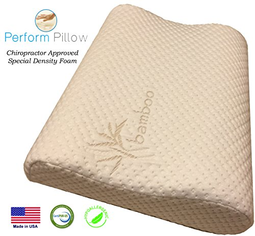 Memory Foam Neck Pillow - Double Contour - Chiropractor Approved - Washable Soft Bamboo Cover - Great for Neck Pain, Sleeping, Travel - Money Back Guarantee