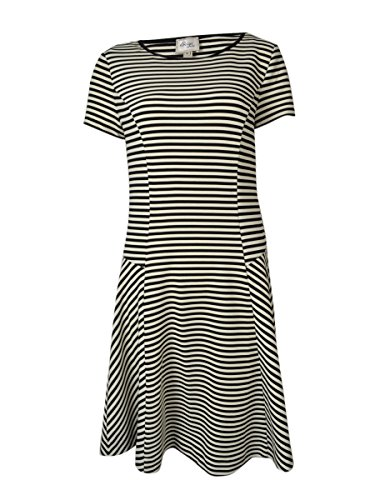 Beige by ECI Women's Striped Stretch Flared Dress (M, Ivory/Black)