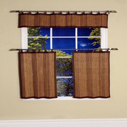 Bamboo Ring Top Curtain BRP07 2-Piece 48-Inch L x 36-Inch H Tier set, Colonial Brown