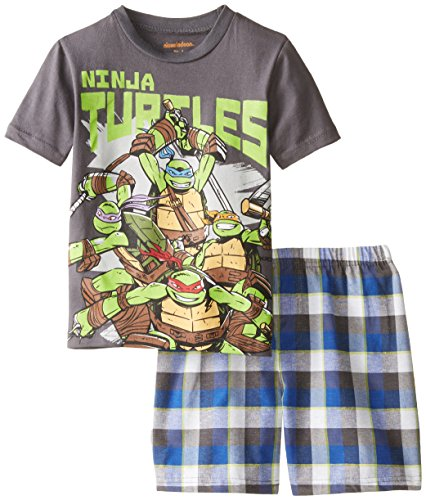 Nickelodeon Little Boys' Ninja Turtle Tee with Woven Plaid Short Set