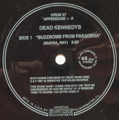 Buzzbomb From Pasadena night of the Living Rednecks Flexi Disc by Dead Kennedys