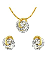 Mahi Crystal Floral Tripetal Gold Plated Pendant Set For Women NL1102711G