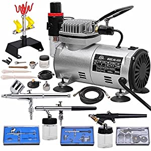 Multi-purpose Professional Airbrush Kit with 3 Dual-action Spray Airbrushes & Compressor & 6' Air Hose & Brush Holder Ta