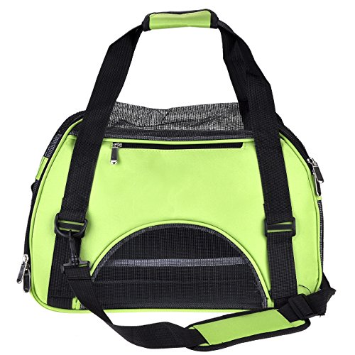 Yerwal Portable Pet Carrier Airline Approved Travel Crate Tote for Pet Dog Cat,Large,Green