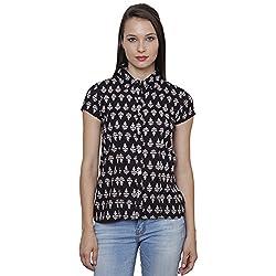 LEBE Women's Black Short Sleeve Top
