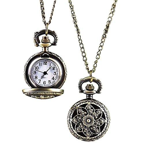 Sannysis® Collana retro bronzo di tasca del quarzo del pendente della vigilanza
