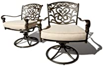 Buy Cheap Strathwood St. Thomas Cast Aluminum Swivel Dining Arm Chair, Set of 2