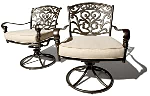 Strathwood St. Thomas Cast Aluminum Swivel Dining Arm Chair, Set of 2 (Discontinued by Manufacturer)