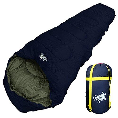 丸洗いOK White Seek 寝袋 シュラフ マミー型 耐寒温度 -15℃ コンパクト収納 オールシーズン (ネイビー)