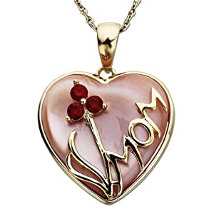 14K Yellow Gold Ruby and Pink Mother of Pearl Heart Pendant