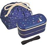 JDT.62B - Bento lunchbox 620ml - boite repas japonaise Tsuki Hana bleue ovale 2 étages + sac