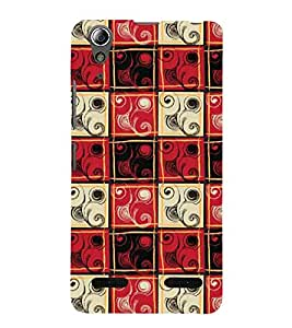 Fuson Premium Back Case Cover Red pattern With black Background Degined For Lenovo A6000