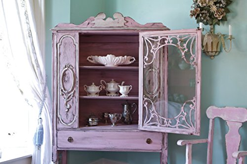 Antique China Cabinet Shabby Chic Pink Distressed Cottage Prairie 1