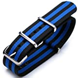 20mm G10 Nato James Bond Heavy Nylon Strap Polished Buckle – J09 Double Black & Blue Strips