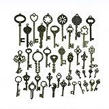 Makhry 42pcs Large Skeleton Antique Keys in antique Style - Mixed 42pcs Bronze Key