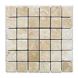 Durango Cream 2 X 2 Tumbled Travertine Mosaic Tile