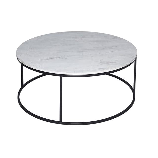 Gillmore Space Tavolino circolare in marmo bianco e nero metallo contemporanea