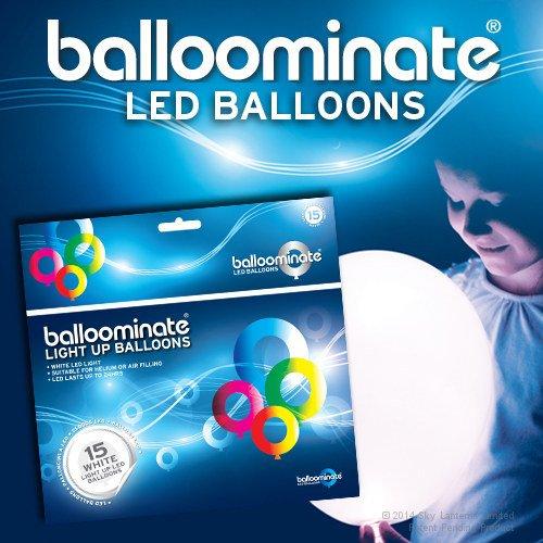 15x Palloncini Luminosi Balloominate White - LED Luce Bianchi Fissa Party Pack