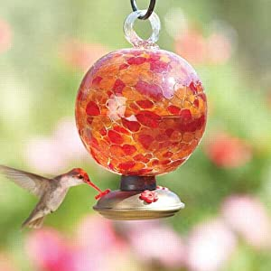 Parasol Dew Drop - CINNABAR - Red & Gold Blown Glass Hummingbird Nectar Feeder - with Gondola - DDCIN