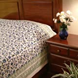 Moonlit Taj ~ Exotic Turquoise Floral India Print King Bedspread